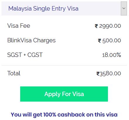 Malaysia single entry visa fee