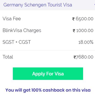 Germany visa fees Bangalore