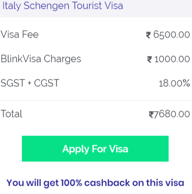 Italy Schengen Visa Fee