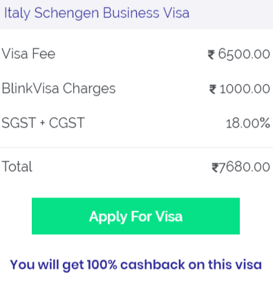 Italy business visa fees