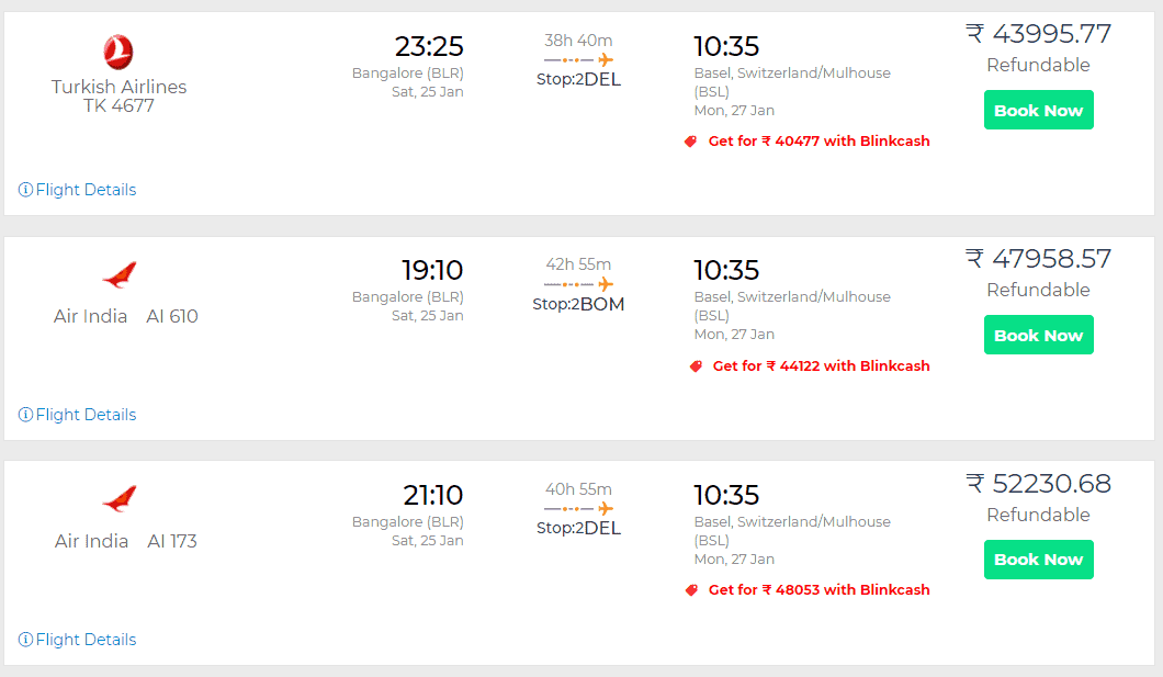 Switzerland flight tickets with Blinkvisa