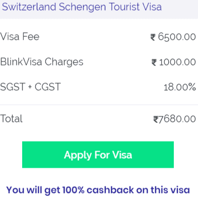 Switzerland visa Bangalore fees