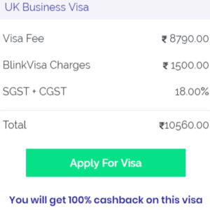 UK business visa fee from Bangalore