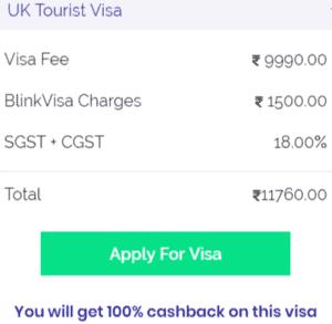 UK tourist visa fee in Bangalore