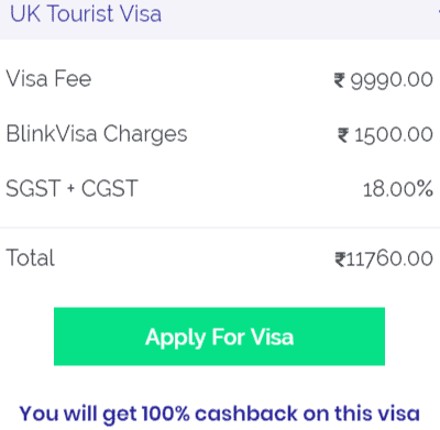 UK tourist visa fee in Bangalore