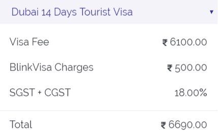 14 days tourist visa fees dubai