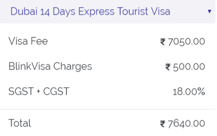 14 days express tourist visa dubai fees