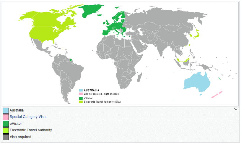 Australia visa policy map