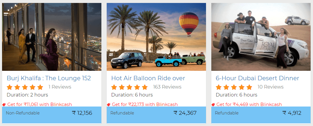 Activities Discount with Cashback