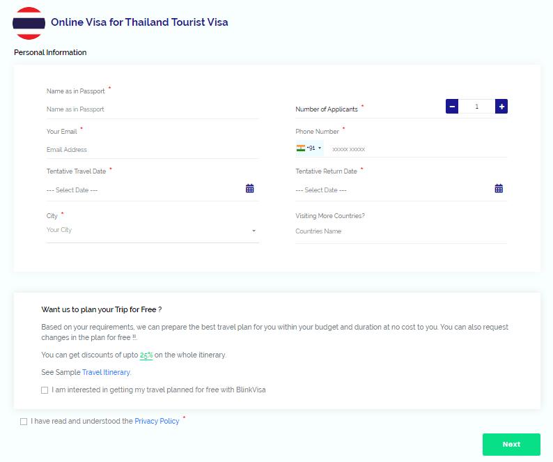 Thailand application form
