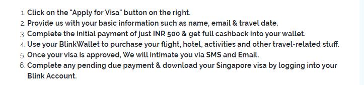 Blinkvisa application for Singapore