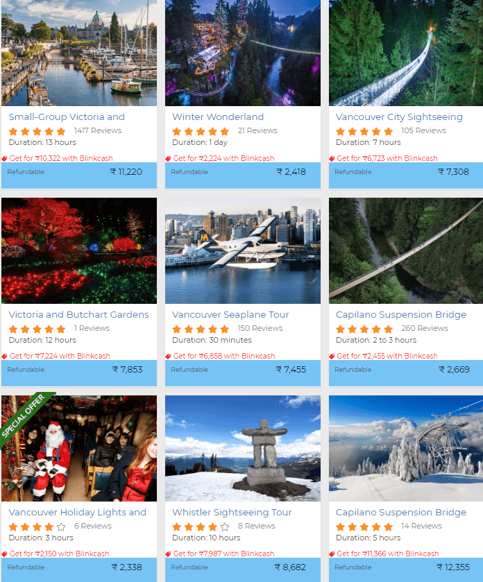Canada travel activities discount