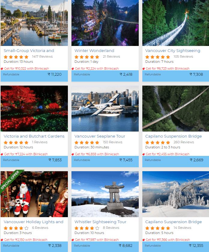 Canada travel activities discount
