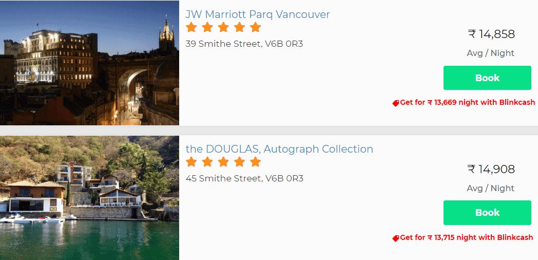 Hotel discounts Blinkcash Canada