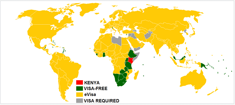 visa-policy-map-Kenya