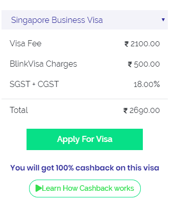 Singapore business visa fee