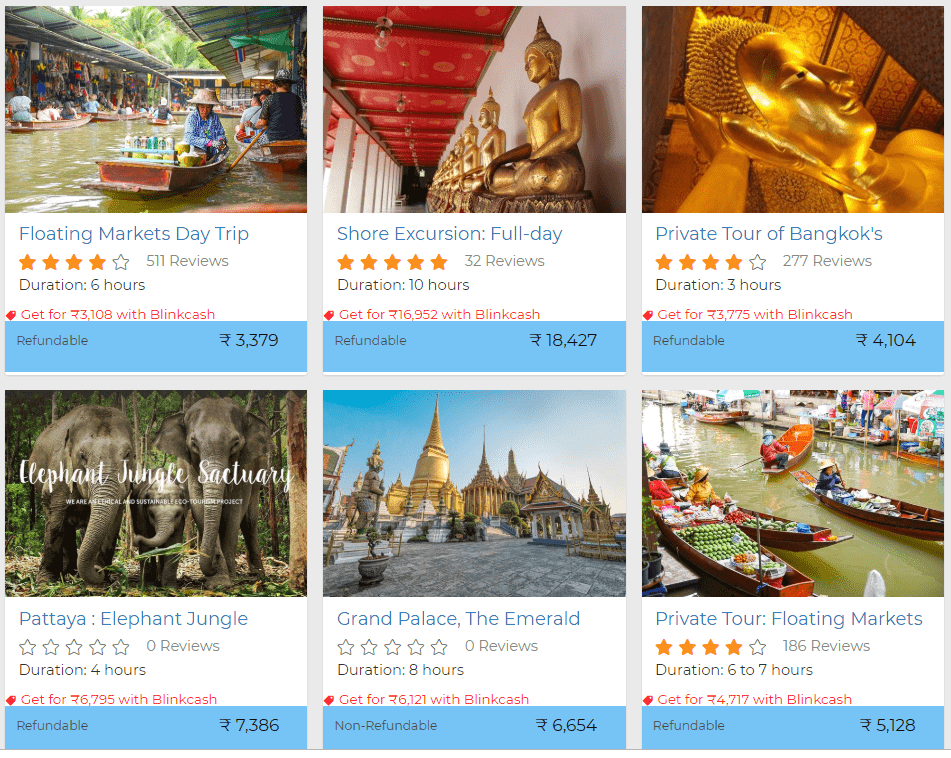 Thailand activities discount with Blinkcash