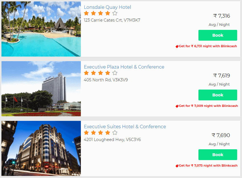 Discounts on hotels with Blinkcash
