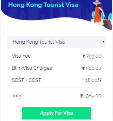 hong kong visa fee