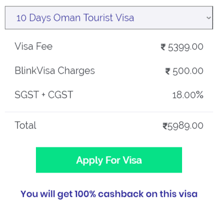 oman 10 days visa cost