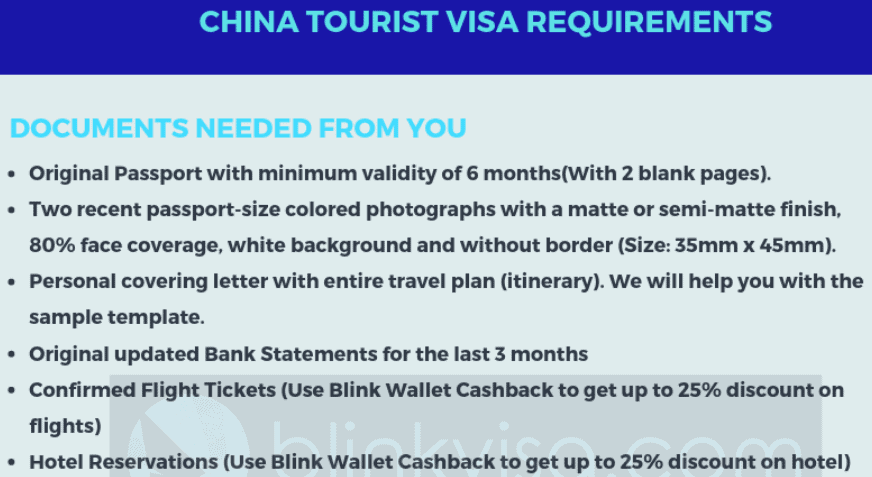 China tourist visa requirements