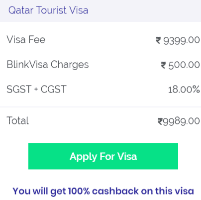Qatar tourist visa cost for Indians