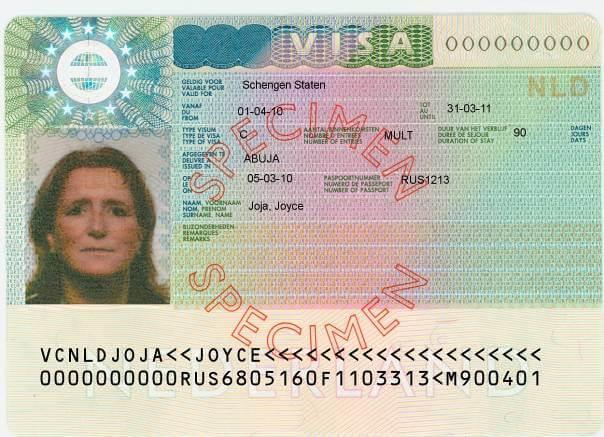 schengen sample visa sticker