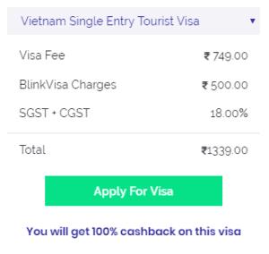 Vietnam tourist visa fees