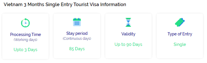 Vietnam single entry visa 3 months info