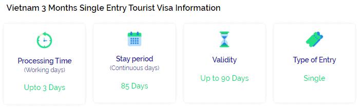 Vietnam single entry visa 3 months info