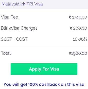 Malaysia eNTRI visa fee