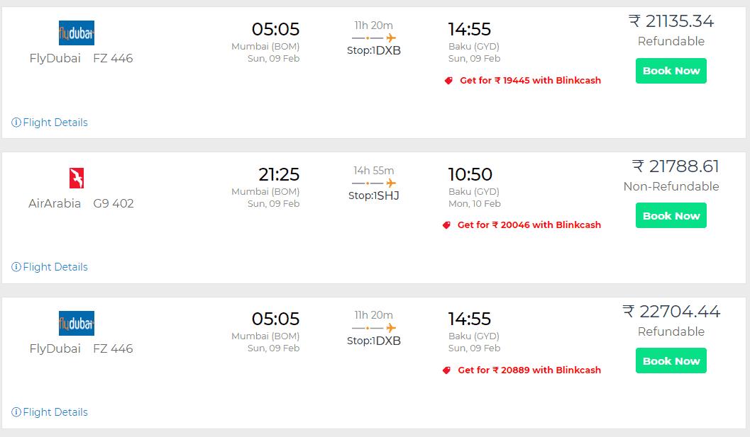 Baku flight tickets discount with Blinkcash