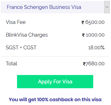 france schengen business visa cost