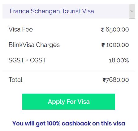 france schengen tourist visa cost