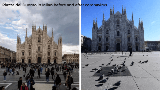 Piazza del Duomo in Milan before and after coronavirus