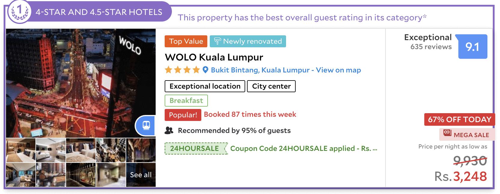 Wolo hotel in bukit bintang